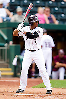 Keenen Maddox (1) of the Missouri State Bears at bat during a game against the Evansville Purple Aces at Hammons Field on May 12, 2012 in Springfield, Missouri. (David Welker/Four Seam Images)