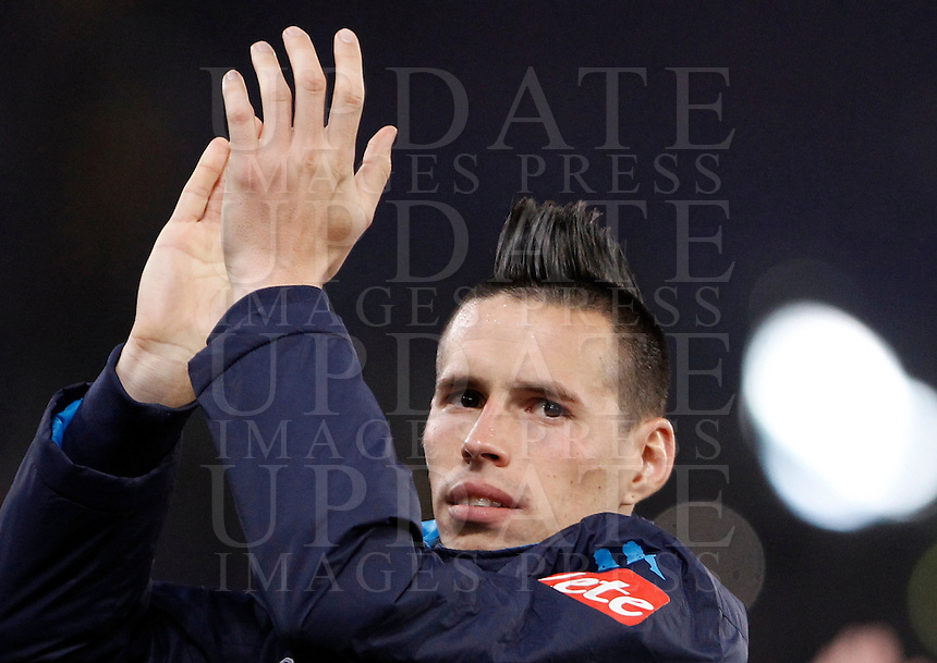 Calcio, Serie A: Lazio vs Napoli. Roma, stadio Olimpico, 3 febbraio 2016.<br /> Napoli's Marek Hamsik applauds to fans at the end of the Italian Serie A football match between Lazio and Napoli at Rome's Olympic stadium, 3 February 2016. Napoli won 2-0.<br /> UPDATE IMAGES PRESS/Isabella Bonotto