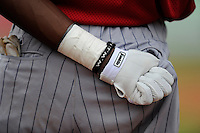 Shortstop Nick Gordon (9) of the Elizabethton Twins wears a WWJD bracelets on his taped wrist before a game against the Johnson City Cardinals on Sunday, July 27, 2014, at Howard Johnson Field at Cardinal Park in Johnson City, Tennessee. Gordon was a first-round pick of the Minnesota Twins in the 2014 First-Year Player Draft.(Tom Priddy/Four Seam Images)