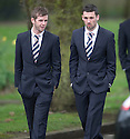 Rangers' David Templeton and Nicky Clark arrive at Mortonhall Crematorium for the funeral of Sandy Jardine.