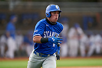 Indiana State Sycamores Diego Gines (11) runs to first base during the teams opening game of the season against the Pitt Panthers on February 19, 2021 at North Charlotte Regional Park in Port Charlotte, Florida.  (Mike Janes/Four Seam Images)