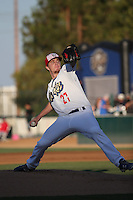 Josh Sborz (27) of the Rancho Cucamonga Quakes pitches against the Stockton Ports at LoanMart Field on July 3, 2016 in Rancho Cucamonga, California. Rancho Cucamonga defeated Stockton, 2-1. (Larry Goren/Four Seam Images)