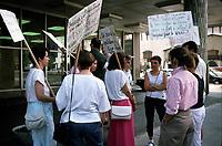 September 1989 File Photo - Nurses on strike at Saint-Luc Hospital<br /> <br /> Infirmere en greve devant l'hopital Saint-Luc