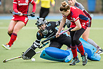 Mannheim, Germany, March 27: During the 1. Bundesliga women fieldhockey match between Mannheimer HC (blue) and Muenchner SC (grey) on March 27, 2021 at Am Neckarkanal in Mannheim, Germany. Final score 2-1 (HT 1-1). (Copyright Dirk Markgraf / www.265-images.com) ***