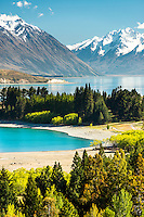 Picture perfect Lake Tekapo with Southern Alps in background, Mackenzie Country, South Island, New Zealand, NZ