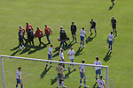 Faroe Islands 0 Scotland 2, 06/06/2007. European Championship Qualifier. A Faroese player being carried from the field on a stretcher during the Euro 2008 group B qualifying match at the Svangaskard stadium in Toftir between the Faroe Islands and Scotland. The visitors won the match by 2 goals to nil to stay in contention for a place at the European football championships which were to be held in Switzerland and Austria in the Summer of 2008. It was the first time Scotland had won in the Faroes, the previous two matches ended in draws. Photo by Colin McPherson.