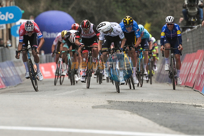 World Champion Julian Alaphilippe (FRA) Deceuninck-Quick Step outsprints Dutch Champion Mathieu Van Der Poel (NED) Alpecin Fenix and race leader Maglia Azzura Wout Van Aert (BEL) Team Jumbo-Visma to win Stage 2 of Tirreno-Adriatico Eolo 2021, running 202km from Camaiore to Chiusdino, Italy. 11th March 2021. <br /> Photo: LaPresse/Marco Alpozzi | Cyclefile<br /> <br /> All photos usage must carry mandatory copyright credit (© Cyclefile | LaPresse/Marco Alpozzi)