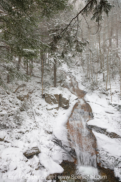 Liberty Gorge Cascades on Cascade Brook in the Flume Gorge area of Franconia Notch State Park in Lincoln, New Hampshire during a snow storm. In the 1800s, this cascade was known as Langton's Cascades.