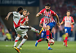 Diego Costa (R) of Atletico de Madrid fights for the ball with Abdoulaye Ba of Rayo Vallecano during the La Liga 2018-19 match between Atletico de Madrid and Rayo Vallecano at Wanda Metropolitano on August 25 2018 in Madrid, Spain. Photo by Diego Souto / Power Sport Images