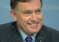 OTTAWA , November 17th 2001 FILE PHOTO<br /> <br /> Horst Kohler ;  Managing Director of the International Monetary Fund (IMF) smile  during  the closing press conference of the IMF meeting taking place on the G-20 Summit 2nd day, November 17th, 2001 in Ottawa, CANADA<br /> <br /> (Photo by Pierre Roussel /I Photo)<br /> ON SPEC<br /> NOTE l Nikon D-1 jpeg opened with quimage icc profile, saved in Adobe 1998 RGB.