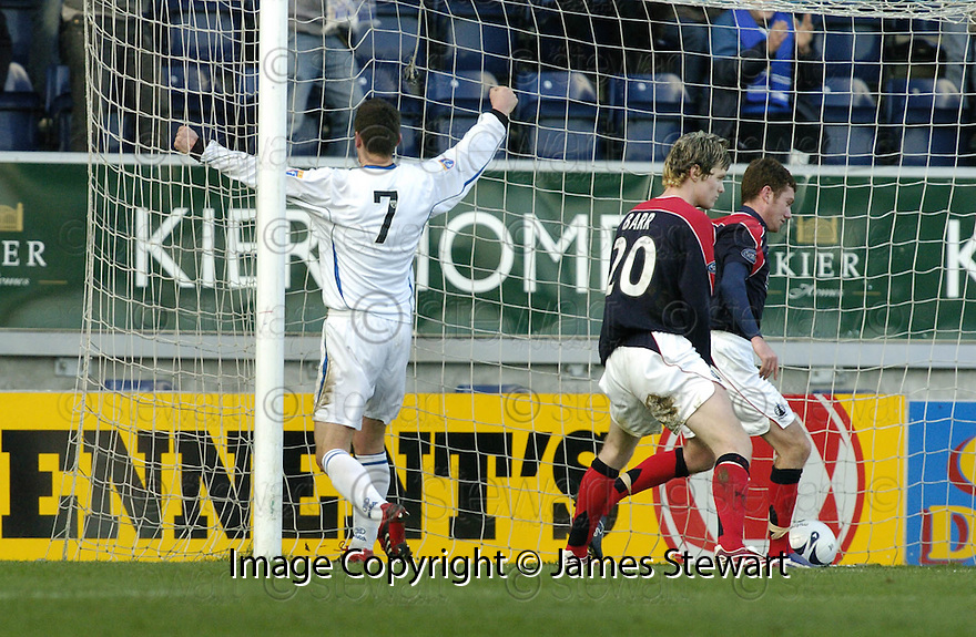 03/02/2007       Copyright Pic: James Stewart.File Name : sct_jspa07_falkirk_v_st_johnstone.MARTIN HARDIE  CELEBRATES AFTER HE SCORES ST JOHNSTONE'S FIRST.....James Stewart Photo Agency 19 Carronlea Drive, Falkirk. FK2 8DN      Vat Reg No. 607 6932 25.Office     : +44 (0)1324 570906     .Mobile   : +44 (0)7721 416997.Fax         : +44 (0)1324 570906.E-mail  :  jim@jspa.co.uk.If you require further information then contact Jim Stewart on any of the numbers above.........