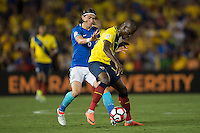 action photo during the match Brasil vs Ecuador, at Rose Bowl Stadium Copa America Centenario 2016. ---Foto  de accion durante el partido Brasil vs Ecuador, En el Estadio Rose Bowl, Partido Correspondiante al Grupo -B-  de la Copa America Centenario USA 2016, en la foto: (i)-(d) Filipe Luis, Enner Valencia<br /> --- 04/06/2016/MEXSPORT/ Osvaldo Aguilar