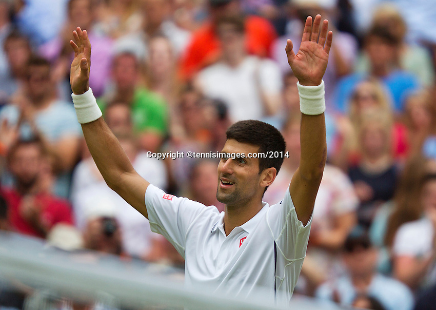 England, London, 27.06.2014. Tennis, Wimbledon, AELTC, Novak Djokovic (SRB) defeats Simon and celebrates<br /> Photo: Tennisimages/Henk Koster