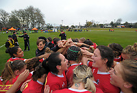 The Canada team huddles after the 2017 International Women's Rugby Series rugby match between Canada and Australia Wallaroos at Smallbone Park in Rotorua, New Zealand on Saturday, 17 June 2017. Photo: Dave Lintott / lintottphoto.co.nz