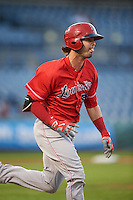 Louisville Bats right fielder Jesse Winker (23) runs to first base during a game against the Syracuse Chiefs on June 6, 2016 at NBT Bank Stadium in Syracuse, New York.  Syracuse defeated Louisville 3-1.  (Mike Janes/Four Seam Images)