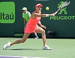 March 24 2018: Agnieszka Radwanska (POL) defeats Simone Halep (ROU) by 3-6, 6-2, 6-3, at the Miami Open being played at Crandon Park Tennis Center in Miami, Key Biscayne, Florida. ©Karla Kinne/Tennisclix/CSM