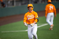 Tennessee Volunteers left fielder Evan Russell (4) celebrates a home run against the Vanderbilt Commodores on Robert M. Lindsay Field at Lindsey Nelson Stadium on April 17, 2021, in Knoxville, Tennessee. (Danny Parker/Four Seam Images)