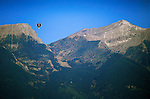 A hot air balloon over the scenic Mission Mountains in western Montana