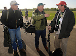 Seventeen B-25 bombers arrive at the National Museum of the United States Air Force and four of the surviving members of Doolittle's Raiders gather to be photographed on the flight line.