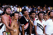 Rio de Janiero, Brazil. Poor football fans in the Maracana stadium wearing Coca Cola and Vasco da Gama Campeao shirts.