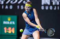 13th February 2021, Melbourne, Victoria, Australia; Karolina Muchova of the Czech Republic returns the ball during round 3 of the 2021 Australian Open on February 13 2020, at Melbourne Park in Melbourne, Australia.