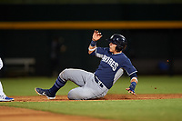 AZL Padres 1 Brandon Valenzuela (7) slides safely into second base during an Arizona League game against the AZL Cubs 1 on July 5, 2019 at Sloan Park in Mesa, Arizona. The AZL Cubs 1 defeated the AZL Padres 1 9-3. (Zachary Lucy/Four Seam Images)