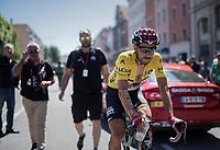 yellow jersey / GC leader Thomas de Gendt (BEL/Lotto-Soudal) at the finish on Mâcon<br /> <br /> Stage 5: La Tour-de-Salvagny › Mâcon (175km)<br /> 69th Critérium du Dauphiné 2017