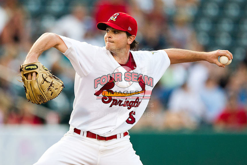John Gast (16) of the Springfield Cardinals delivers a pitch during a game against the Northwest Arkansas Naturals at Hammons Field on August 1, 2011 in Springfield, Missouri. Springfield defeated Northwest Arkansas 7-1. (David Welker / Four Seam Images)