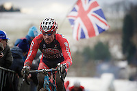 Jonathan Page (USA) flying under the Union Jack<br /> <br /> Elite Men's race<br /> <br /> 2015 UCI World Championships Cyclocross <br /> Tabor, Czech Republic