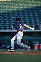 AZL Padres 1 CJ Abrams (8) at bat during an Arizona League game against the AZL Cubs 1 on July 5, 2019 at Sloan Park in Mesa, Arizona. The AZL Cubs 1 defeated the AZL Padres 1 9-3. (Zachary Lucy/Four Seam Images)