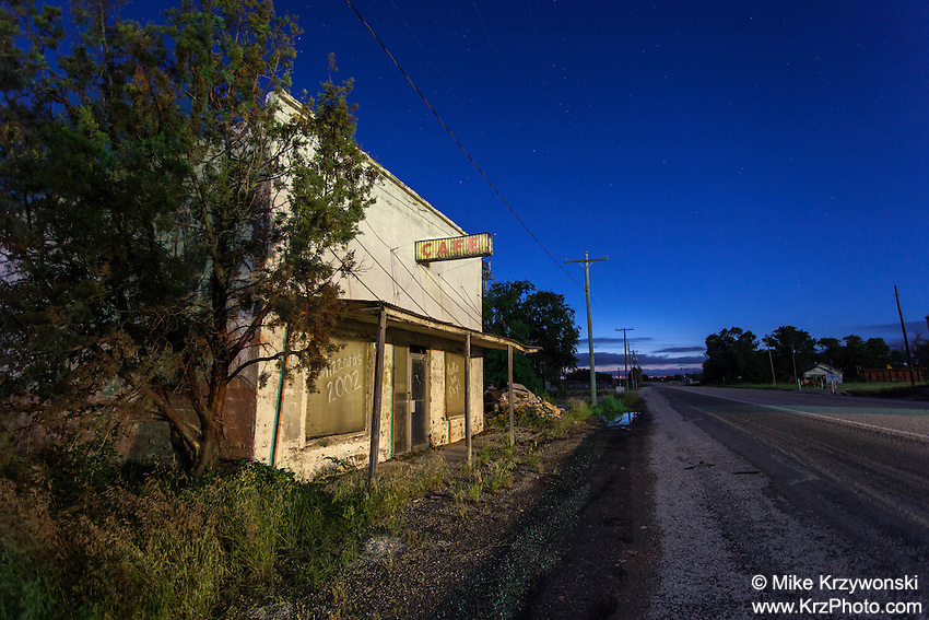 Abandoned Cafe at Night in Texas