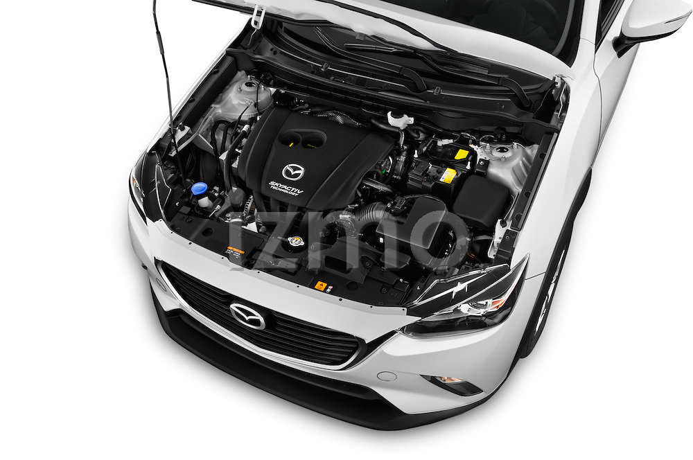 Car Stock 2016 Mazda CX3 Skydrive 5 Door Suv Engine high angle detail view