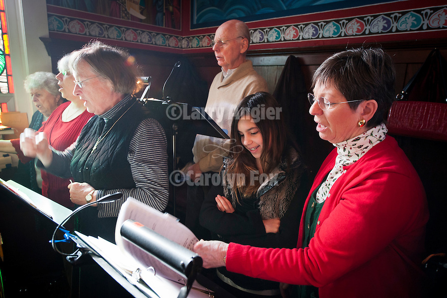 The choir signs during Christmas Liturgy Service, St. Sava Serbian Orthodox Church, Jackson, Calif.