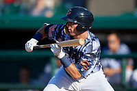 Lakeland Flying Tigers Kody Clemens (8) squares to bunt during a Florida State League game against the Dunedin Blue Jays on May 18, 2019 at Publix Field at Joker Marchant Stadium in Lakeland, Florida.  Dunedin defeated Lakeland 3-2 in eleven innings.  (Mike Janes/Four Seam Images)