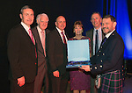St Johnstone FC Hall of Fame Dinner, Perth Concert Hall….03.04.16<br />Chairman Steve Brown with Hall of Fame Inductee's from left, Dougie Barron, Ron McKinven, Steve Maskrey, Margaret Rutherford (widow of Drew Rutherford) and John Connolly<br />Picture by Graeme Hart.<br />Copyright Perthshire Picture Agency<br />Tel: 01738 623350  Mobile: 07990 594431