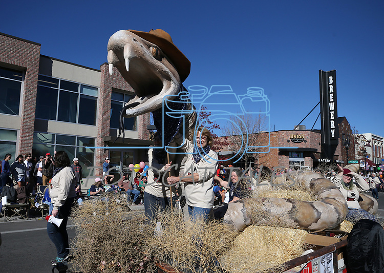 The Carson City Library and the Community Reads True Grit float moves down Carson Street during the 79th Nevada Day parade in Carson City, Nev., on Saturday, Oct. 28, 2017. <br /> Photo by Cathleen Allison/Nevada Momentum
