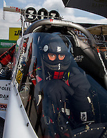 Aug 31, 2014; Clermont, IN, USA; NHRA top fuel dragster driver T.J. Zizzo during qualifying for the US Nationals at Lucas Oil Raceway. Mandatory Credit: Mark J. Rebilas-USA TODAY Sports