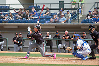 Arizona Diamondback Jake Lamb (5) on rehab assignment playing for the Visalia Rawhide follows through on his swing against the Rancho Cucamonga Quakes at LoanMart Field on May 13, 2018 in Rancho Cucamonga, California. The Quakes defeated the Rawhide 3-2.  (Donn Parris/Four Seam Images)