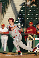 Zach Jones of the Stanford Cardinal bats against the USC Trojans at Dedeaux Field in Los Angeles,California on April 8, 2011. Photo by Larry Goren/Four Seam Images