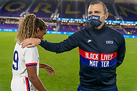 ORLANDO, FL - JANUARY 18: Catarina Macario #29 of the USWNT is congratulated on her first cap by Vlatko Andonovski after a game between Colombia and USWNT at Exploria Stadium on January 18, 2021 in Orlando, Florida.