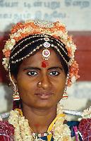 Braut im Sri Meenakshi Tempel, Indien, Madurai