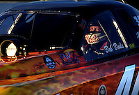 Nov 13, 2010; Pomona, CA, USA; NHRA funny car driver Bob Bode during qualifying for the Auto Club Finals at Auto Club Raceway at Pomona. Mandatory Credit: Mark J. Rebilas-
