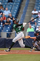 Daytona Tortugas second baseman Carlton Daal (4) at bat during a game against the Tampa Yankees on April 24, 2015 at George M. Steinbrenner Field in Tampa, Florida.  Tampa defeated Daytona 12-7.  (Mike Janes/Four Seam Images)