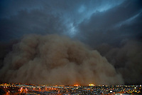 Jul. 5, 2011; Phoenix, AZ, USA; A dust storm converges on downtown Phoenix the home to the 2011 MLB All Star Game at Chase Field. Mandatory Credit: Mark J. Rebilas-