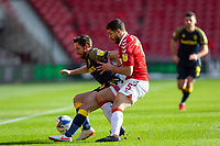 13th March 2021; Riverside Stadium, Middlesbrough, Cleveland, England; English Football League Championship Football, Middlesbrough versus Stoke City; Tommy Smith of Stoke City holds off the pressure from Sam Morsy of Middlesbrough