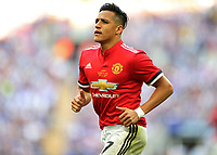 19th May 2018, Wembley Stadium, London, England; FA Cup Final football, Chelsea versus Manchester United; Alexis Sanchez of Manchester United goes to take a corner kick
