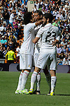 Real Madrid´s Cristiano Ronaldo, Marcelo Vieira and Isco celebrate a goal during 2014-15 La Liga match between Real Madrid and Eibar at Santiago Bernabeu stadium in Madrid, Spain. April 11, 2015. (ALTERPHOTOS/Luis Fernandez)