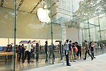 Shoppers enter the Apple Store in Tokyo's Omotesando shopping district in Japan on September 22, 2017. Apple Inc.'s new iPhone 8 and iPhone 8 Plus smartphones went on sale in Japan. (Photo by YUTAKA/AFLO)