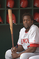 Vladimir Guerrero. Baseball: Los Angeles Angels of Anaheim vs Oakland Athletics at McAfee Coliseum in Oakland, CA on April 22, 2006. Photo by Brad Mangin