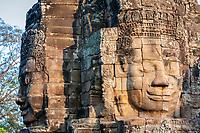 Cambodia, Bayon Temple.  Smiling Buddhas.